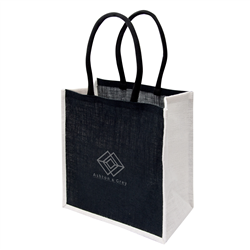 Large Jute Tote  BlackWhite